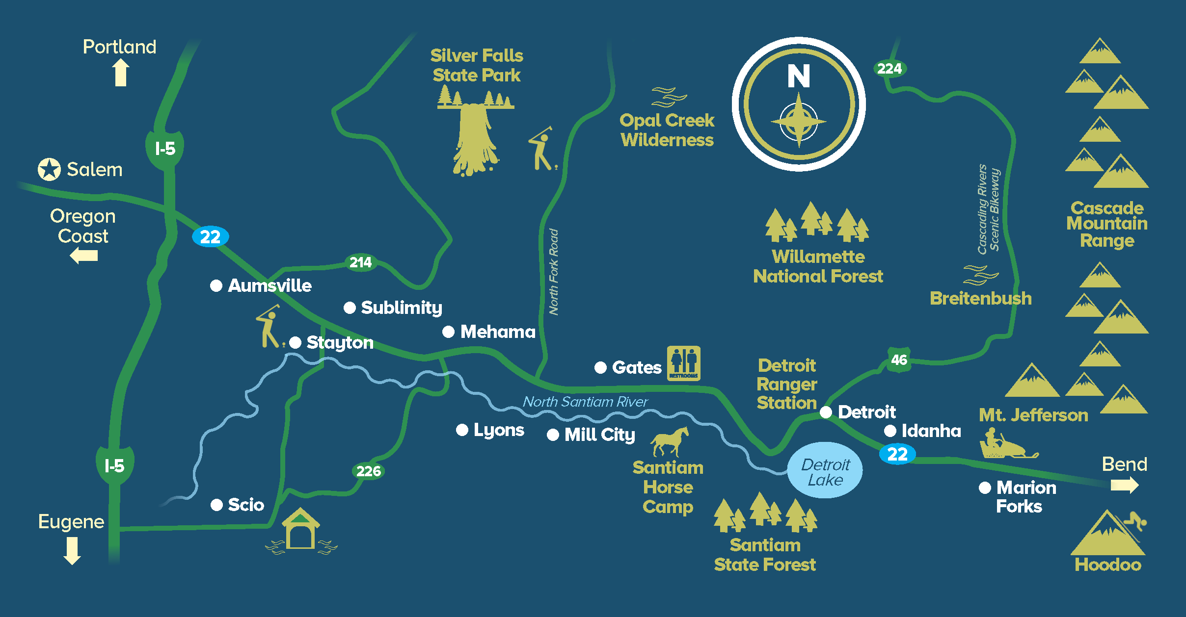 Map of North Santiam River Country